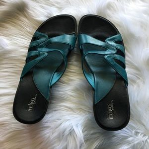 Clarks Indigo wedge sandals teal blue